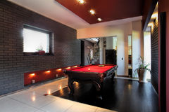 Contemporary interior with a snooker table Royalty Free Stock Photography