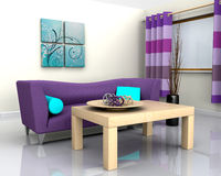 Contemporary interior and sofa Royalty Free Stock Photos