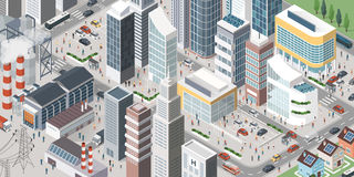 Contemporary isometric city. Isometric contemporary city with skyscrapers, stores, factories, homes, vehicles and people in the streets Royalty Free Stock Image