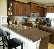 Contemporary kitchen. Design in new modern home Royalty Free Stock Images
