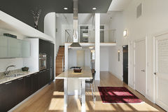 Contemporary kitchen in condo royalty free stock photography
