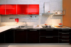 Contemporary kitchen counter Stock Photos