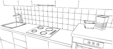 Contemporary kitchen counter close up, black and white sketch drawing royalty free illustration