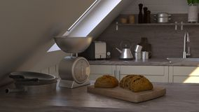 Render of 3D Contemporary kitchen royalty free stock photo