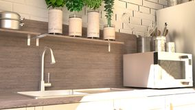 Render of 3D Contemporary kitchen royalty free stock photos