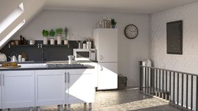 Contemporary kitchen. 3D render of a contemporary kitchen stock illustration