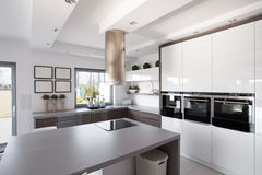 Contemporary kitchen in fashionable house Stock Photography