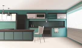 Contemporary Kitchen Interior Composition. Modern kitchen interior realistic design with turquoise colored walls venetian blinds baking oven and hanging lamps Stock Photography