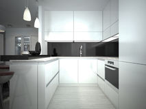 Contemporary Kitchen Style. 3D images stock illustration