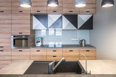 Stylish kitchen in modern style Royalty Free Stock Images