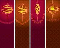 Contemporary lanterns background illustration set Royalty Free Stock Image