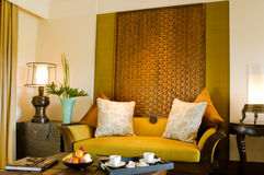 Contemporary living area resort hotel suite room Royalty Free Stock Images