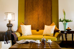 Contemporary living area resort hotel suite room Royalty Free Stock Photos