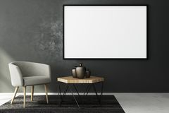 Contemporary living roo with blank banner. Contemporary living room interior with blank banner on concrete wall and furniture. Style and advertising concept Stock Photography