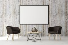 Contemporary living roo with blank billboard. Contemporary living room interior with blank billboard on concrete wall and furniture. Style and advertising Stock Photo