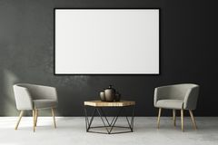 Contemporary living roo with blank poster. Contemporary living room interior with blank poster on concrete wall and furniture. Style and advertising concept Stock Image