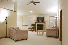 Contemporary Living Room. A sparsely decorated, contemporary living room Royalty Free Stock Photography