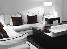 Contemporary living room. Decorated in white and brown Stock Images