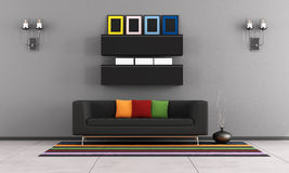 Contemporary living room with black couch Royalty Free Stock Photography