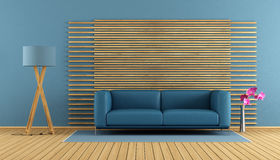 Contemporary living room with blue sofa Stock Image