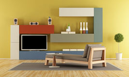 Contemporary Living room with colorful wall unit Stock Images