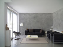 Contemporary living room with concrete wall Royalty Free Stock Photos