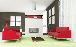 Contemporary living room with fireplace Stock Photo