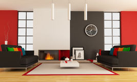 Contemporary living room with fireplace. Modern lounge with two couch and minimalist fireplace - rendering - the picture on wall is a my photo ,London 2008 Stock Photos