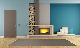 Contemporary living room with fireplace. Blue and brown contemporary living room with fireplace and closed door - 3D Rendering Royalty Free Stock Images