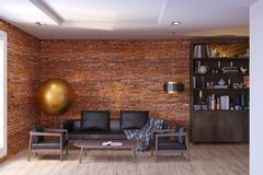 Contemporary living room interior with brick walls royalty free stock photos