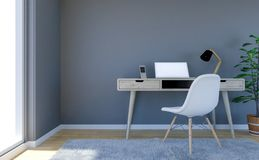 Contemporary living room interior with grey empty wall and working desk with laptop computer royalty free illustration