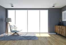Contemporary living room interior with grey wall and large windows stock illustration