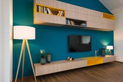 Contemporary living-room interior. Of house royalty free stock image