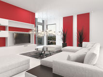 Contemporary living room interior with red accents. Contemporary living room interior with white decor and lounge suite with colorful vibrant red accents and a royalty free illustration
