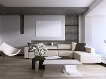 Contemporary living room with large window overlooking the backyard. 3D rendering royalty free illustration