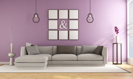 Contemporary living room with lilla wall Royalty Free Stock Photos