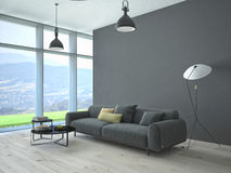 Contemporary living room loft interior. 3d rendering Stock Photos