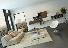 Contemporary living room loft interior Stock Images