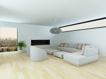 Contemporary living room with modular suite Royalty Free Stock Photos