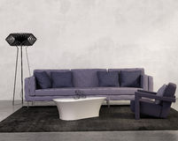 Contemporary living room with purple sofa Stock Photos