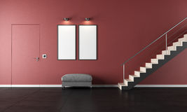Contemporary living room with staircase Stock Images