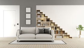 Contemporary living room with staircase. Contemporary living room with wooden staircase ,sofa and closed door - 3d rendering Stock Image