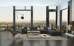 Contemporary living room in an urban apartment Stock Photography