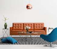 Contemporary Living Room With Orange Leather Sofa Royalty Free Stock Photography