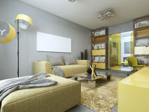 Contemporary living room with yellow furniture. Stock Image