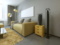 Contemporary living room with yellow furniture. Stock Photo