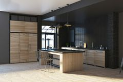 Contemporary loft black kitchen interior. Contemporary loft black kitchen studio inteior with furniture and decorative objects. Living, residential, design and Stock Image