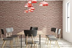 Contemporary meeting room. Contemporary loft meeting room interior with furniture, equipment, city view and daylight. 3D Rendering Royalty Free Stock Photography