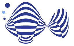 Contemporary Logo of a Blue GoldFish in Stripes Stock Photos