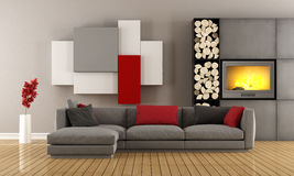 Contemporary lounge with fireplace. Contemporary lounge with gray sofa ,wall unit and fireplace - 3D Rendering Stock Photo